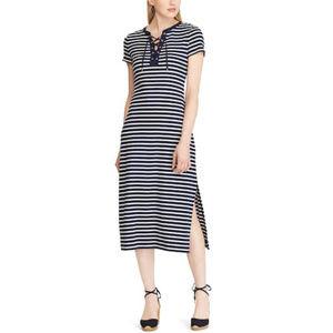 Chaps Lace-Up Striped Midi Dress